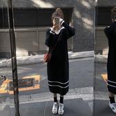 毛衣針織洋裝歐貨女裝潮顯瘦寬鬆針織連衣裙女秋冬中長款衛衣裙過膝毛衣裙長裙-『美人季』