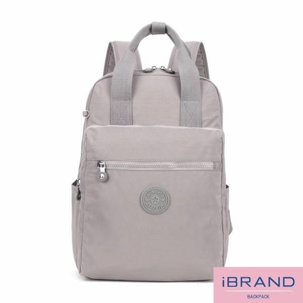 【南紡購物中心】iBrand後背包 輕盈防潑水手提口袋尼龍後背包-灰色 MDS-8616