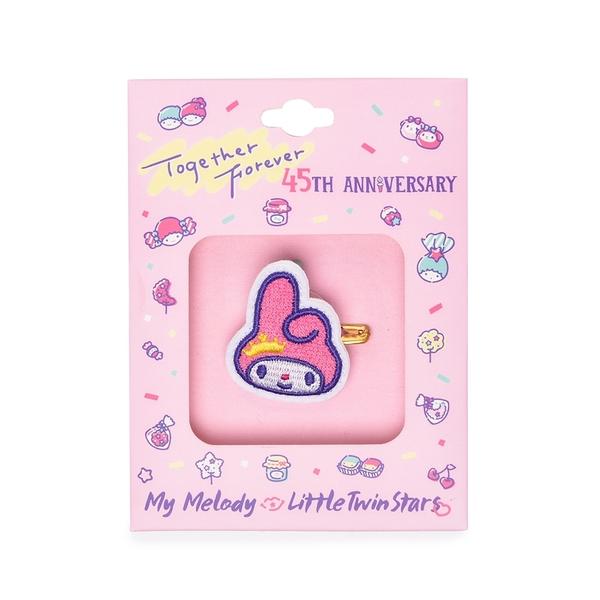 Sanrio 美樂蒂&KIKI LALA 45週年系列 刺繡別針 美樂蒂 白_RD00740