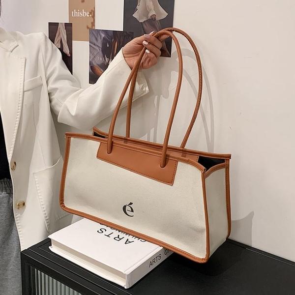 腋下包 簡約大容量包包女夏2021新款潮時尚帆布側背腋下包網紅手提托特包 韓國時尚週 免運