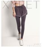 假兩件健身褲女彈力緊身跑步運動褲裙外穿春秋速干高腰提臀瑜伽褲