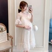 孕婦裙 孕婦連衣裙夏季仙時尚超仙的新款潮媽中長款網紗洋氣夏裝裙子