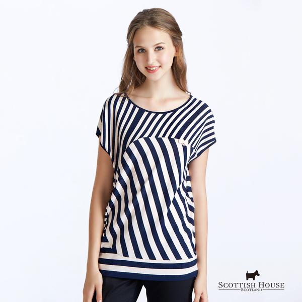 不規則撞色條紋連袖針織上衣 Scottish House【AC1457】