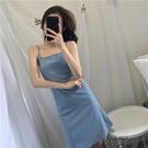 無袖洋裝 洋裝女夏季2021款女裝長裙一字淺藍色裙子夏新款夏裝純色【全館免運】