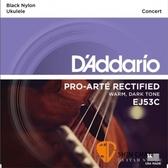 【缺貨】D'Addario EJ53C 23吋烏克麗麗弦 黑色尼龍弦/1套4條弦 【Concert Ukulele/DAddario】