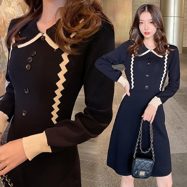 VK旗艦店 韓國風氣質針織小黑裙內搭修身顯瘦長袖洋裝