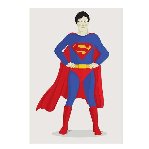 【摩達客】西班牙知名插畫家Judy Kaufmann藝術創作海報掛畫裝飾畫-超人(附Judy本人簽名/含木框)