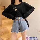 牛仔短褲女寬松韓版設計感毛邊褲子夏季高腰A字闊腿熱褲【櫻桃菜菜子】