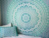 印度綠色mandala掛布壁掛沙發背景布曼陀羅可做桌布窗簾ins  萬聖節禮物