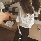 春夏 V領 寬鬆 純色 顯瘦 雪紡衫 長袖 露背 襯衫