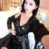 睡衣女士短袖蕾絲綢吊帶睡裙睡袍兩件套裝夏天性感薄款家居服
