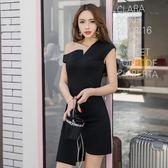 韓版性感修身名媛氣質小香風斜肩不規則露肩連 伊蒂斯女裝