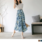 夏日滿版樹葉印花高腰寬版七分褲 OrangeBear《BA6386》
