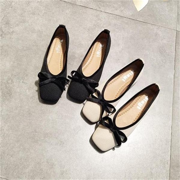 平底鞋方頭單鞋女淺口軟底蝴蝶結奶奶鞋豆豆鞋