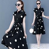 氣質波點洋裝女裝2021年春夏季新款法式修身顯瘦雪紡中長小裙子 范思蓮恩