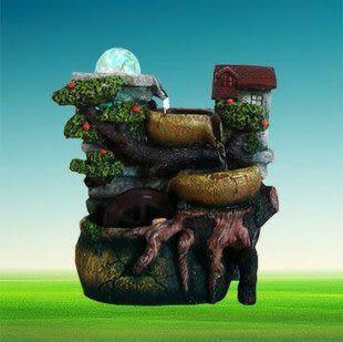 歐式樹脂流水工藝品 田園風格加濕器 動物水草水車風水球噴
