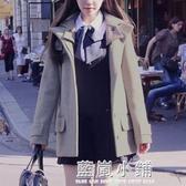森系小個子毛呢外套春2020英倫風學生少女呢子大衣短款chic外套 藍嵐