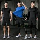 健身套裝男士健身服跑步運動套裝運動服訓練吸汗緊身衣夏雷魅  快速出貨