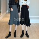 魚尾裙 不規則黑色魚尾半身裙女春裝新款高腰顯瘦A字裙包臀中長裙子