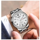 老人手錶老年人手錶男大數字錶盤日歷夜光防水石英錶男錶鋼帶老人男士手錶 快速出貨