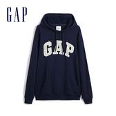 Gap男裝 Logo簡約連帽休閒上衣 490386-海軍藍
