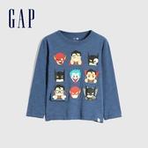 Gap男幼童 Gap x Marvel 漫威系列印花圓領長袖T恤 619060-藍色