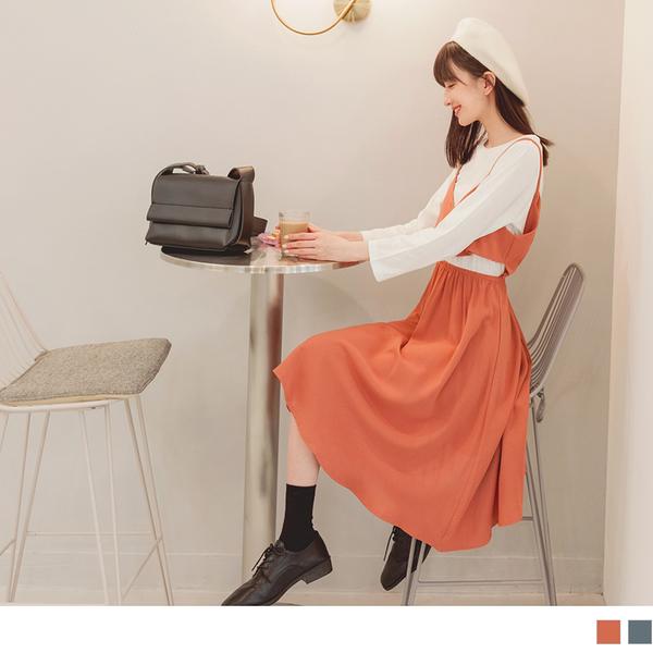 高含棉假兩件開釦前門襟收腰洋裝 OrangeBear《DA8908》