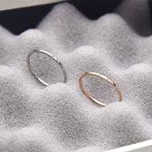 戒指女日韓潮人鈦鋼鍍18k玫瑰金小指指環簡約極細光面關節尾戒