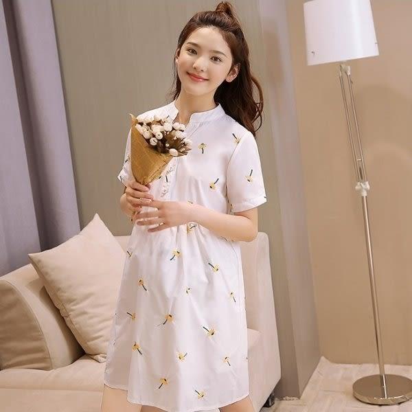 *初心*韓國 甜蜜 小雛菊 繡花 短袖 棉麻 洋裝 開襟 V領 刺繡 D2038