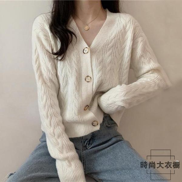 針織外套寬鬆v領短款外套開衫小個子毛衣女【時尚大衣櫥】