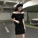 一字肩洋裝 夏季韓版收腰顯瘦短袖氣質連身裙女網紅一 晶彩生活