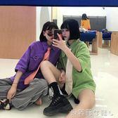 情侶裝元氣少女韓國同款原宿風寬鬆純色圓環情侶短袖襯衫 貝芙莉