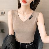 無袖T恤 背心打底衫版8008#直播顯白顯高顯瘦V領工字背心NE02紅粉佳人