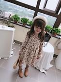 女童寶寶田園風花邊立領連身裙 兒童玫瑰花印花裙子 交換禮物