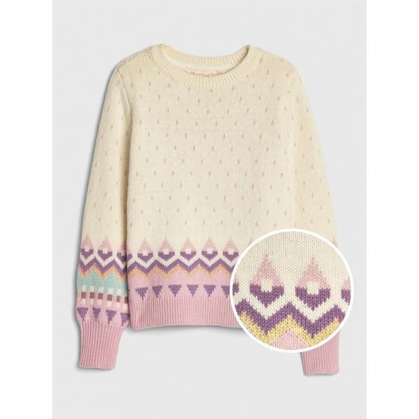 Gap女童民族風格織紋圓領針織上衣521794-象牙色