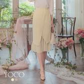 東京著衣【YOCO】優雅浪漫不對稱剪裁雪紡魚尾中長裙-S.M.L(190104)