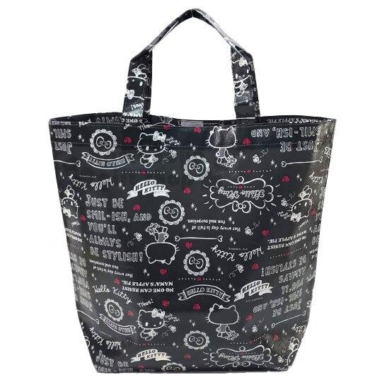 〔小禮堂〕Hello Kitty 不織布手提購物袋《深灰.文字》環保袋.提袋.銅板小物 4573135-58765