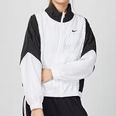 Nike Woven Jacket 女子 黑白 網布 復古 短版 立領 串標 風衣 外套 CJ3686-100