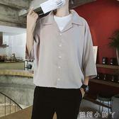 襯衫ins超火的百搭純色寬鬆薄款BF風防曬衫潮流透氣七分袖上衣寸 全館免運