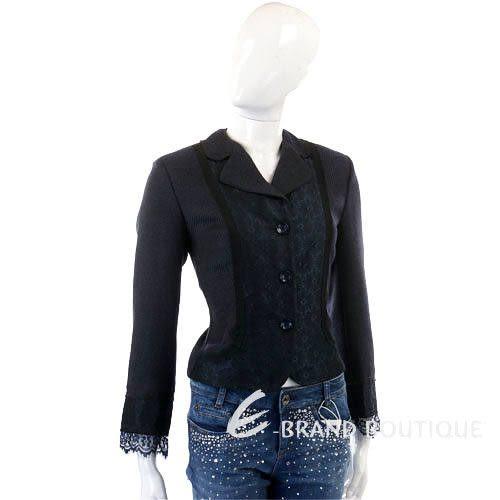 SCHUMACHER 深藍色蕾絲拼接西裝外套 0630343-34