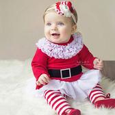 聖誕女孩紗裙上衣+條紋長褲套裝 聖誕節 耶誕套裝