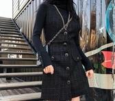 複古小香風裙子秋冬女新款韓版軟呢無袖背帶連身裙打底衫洋氣  韓流時裳