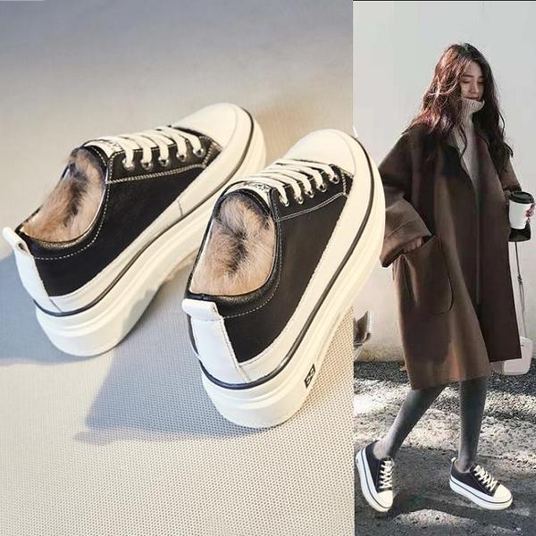 小白鞋女2020新款冬季加絨棉鞋厚底鬆糕內增高毛毛鞋外穿豆豆女鞋 夢幻小鎮