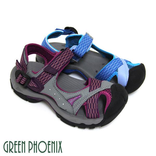 U25-22290 女款溯溪涼鞋   多彩織帶排水孔洞沾黏式溯溪涼鞋【GREEN PHOENIX】