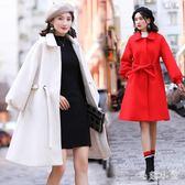 中大尺碼 毛呢大衣女秋冬2018新款大碼韓版中長款毛呢外套大紅色 ys7883 『毛菇小象』