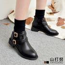 短靴 側簍空雙皮帶皮革短靴- 山打努SANDARU【1076#46】