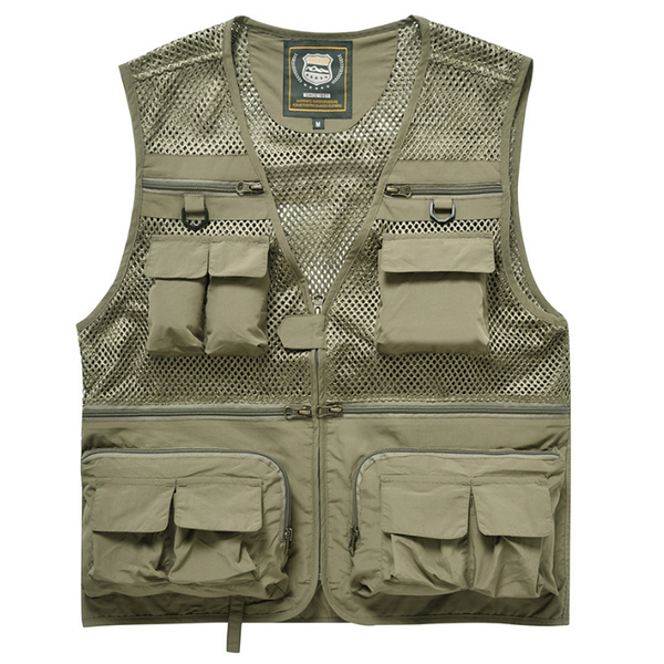PUSH!戶外休閒用品多功能16口袋背心夾克攝影釣魚馬甲背心F26
