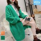 【V2628】shiny藍格子-慵懶風.純色寬鬆中長款開衫針織外套