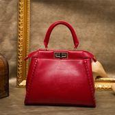 手提包-真皮歐美時尚高雅氣質女肩背包4色73se6【巴黎精品】