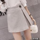 女新款韓版闊腿短褲高腰顯瘦開叉不規則雪紡短褲女 裙褲